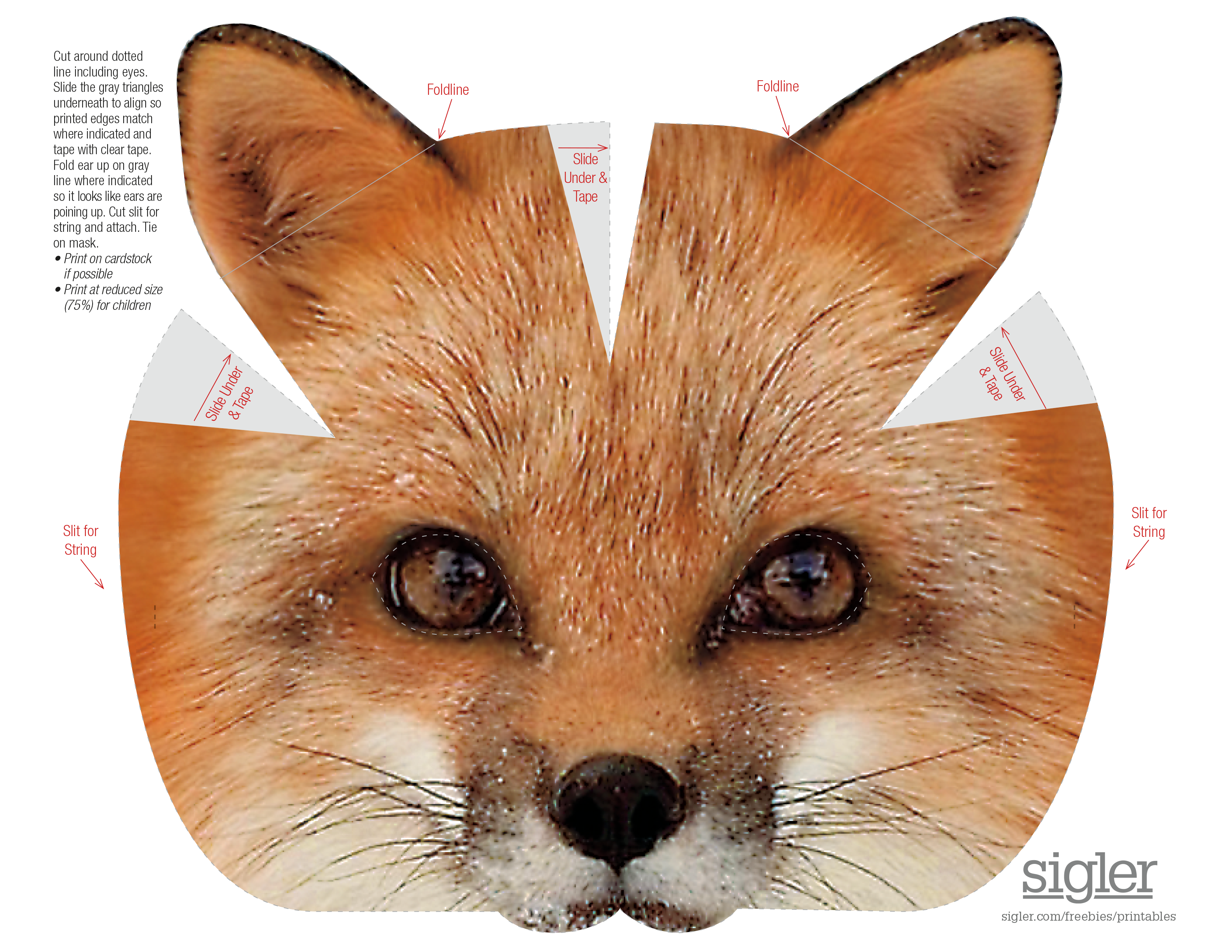 picture relating to Printable Fox Masks named Hairy Buddies Fox Mask Sigler